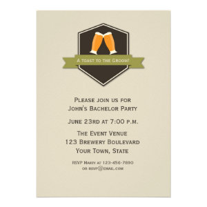Beer Toast Bachelor Party Announcement