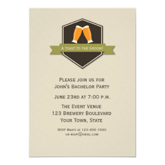 Beer Toast Bachelor Party 5x7 Paper Invitation Card