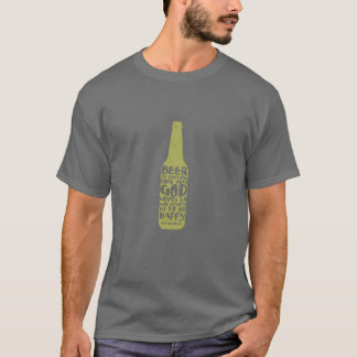 Beer tshirt/ gray with green bottle T-Shirt