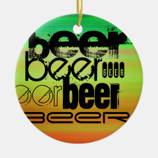 Beer; Vibrant Green, Orange, & Yellow Double-Sided Ceramic Round Christmas Ornament