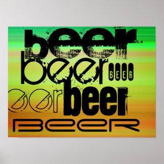 Beer; Vibrant Green, Orange, & Yellow Poster