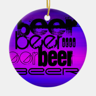 Beer; Vibrant Violet Blue and Magenta Double-Sided Ceramic Round Christmas Ornament