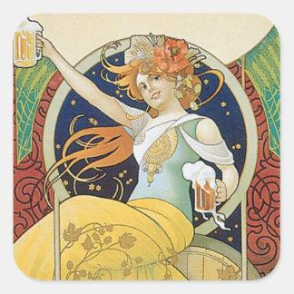 Beer Vintage Drink Ad Art Square Sticker