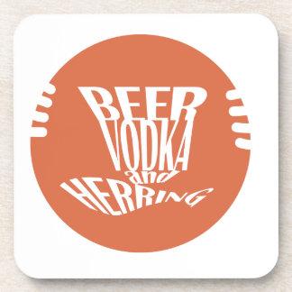 beer vodka and herring beverage coaster