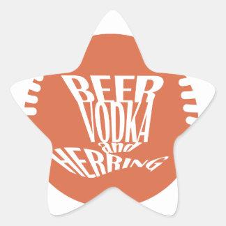 beer vodka and herring star sticker