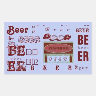 Beer/Warning- Red and Lite Purple Rectangular Sticker