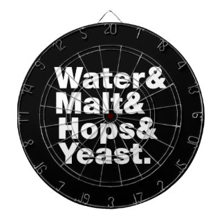 Beer = Water & Malt & Hops & Yeast. Dartboard