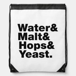 Beer = Water & Malt & Hops & Yeast. Drawstring Bag