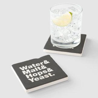 Beer = Water & Malt & Hops & Yeast. Stone Coaster