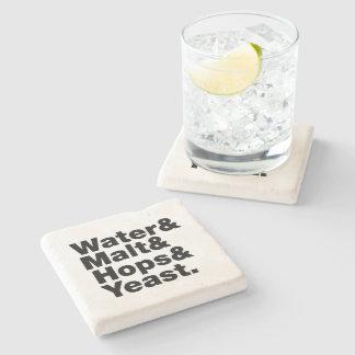Beer = Water & Malt & Hops & Yeast. Stone Beverage Coaster