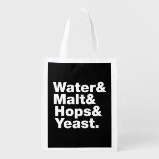 Beer = Water & Malt & Hops & Yeast. Grocery Bags