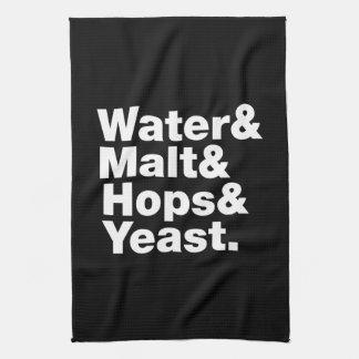 Beer = Water & Malt & Hops & Yeast. Kitchen Towel