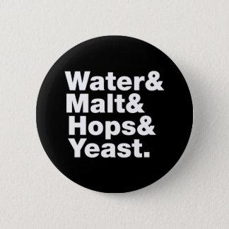 Beer = Water & Malt & Hops & Yeast. Pinback Button