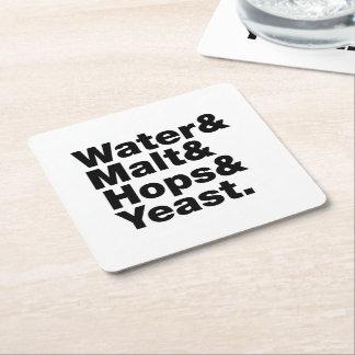 Beer = Water & Malt & Hops & Yeast. Square Paper Coaster