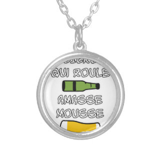 BEER which rolls piles up foam - Word games Silver Plated Necklace