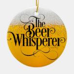 Beer Whisperer Double-Sided Ceramic Round Christmas Ornament