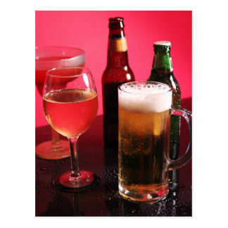 Beer, wine, and margarita postcard