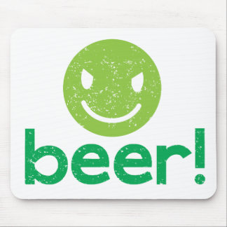 beer with crazy face mousepads