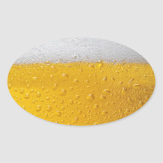 Beer with foam oval sticker