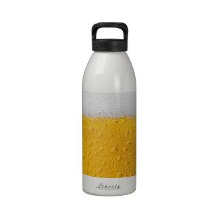 Beer with foam reusable water bottle