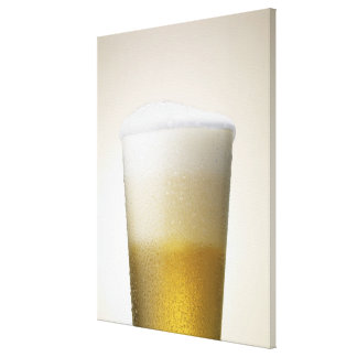 beer with foamy head canvas print