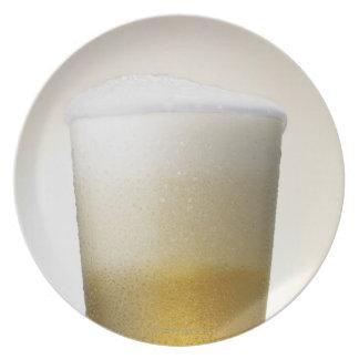 beer with foamy head melamine plate