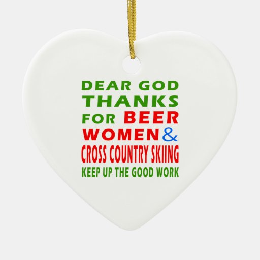Beer Women And Cross Country Skiing Christmas Tree Ornament