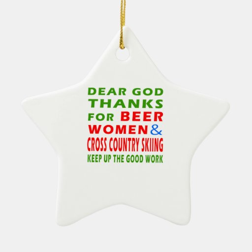 Beer Women And Cross Country Skiing Double-Sided Star Ceramic Christmas Ornament