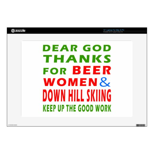 Beer Women And Down Hill Skiing Decals For Laptops