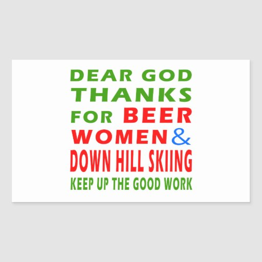Beer Women And Down Hill Skiing Rectangle Sticker