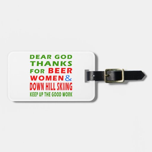 Beer Women And Down Hill Skiing Tag For Luggage