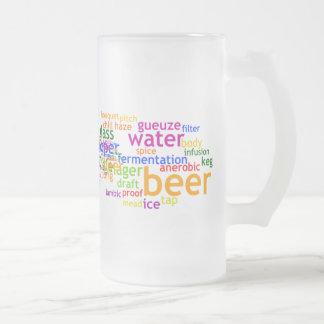 Beer Wordle 16 Oz Frosted Glass Beer Mug