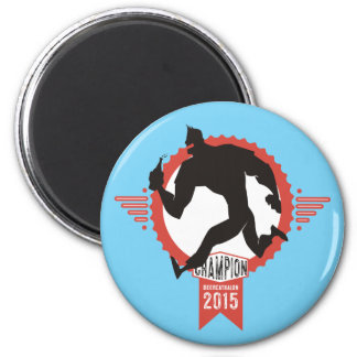 Beercathalon running muscle man beer sports 2 inch round magnet