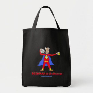 Beerman to the Rescue!  Beer is Good. Grocery Tote Bag