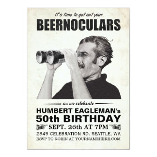 Beernoculars Vintage Birthday Invitation