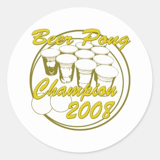 BeerPong_Champion Classic Round Sticker