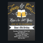"""Beers and Cheers Birthday Invitation 30th 40th etc<br><div class=""""desc"""">matching party items available</div>"""