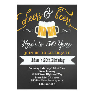 50th birthday for men invitations announcements zazzle beers and cheers birthday invitation 30th 40th etc filmwisefo Choice Image