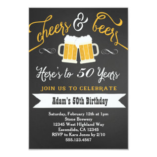 Beers and Cheers Birthday Invitation 30th 40th etc at Zazzle