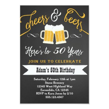 birthday Beers and Cheers Birthday Invitation 30th 40th etc