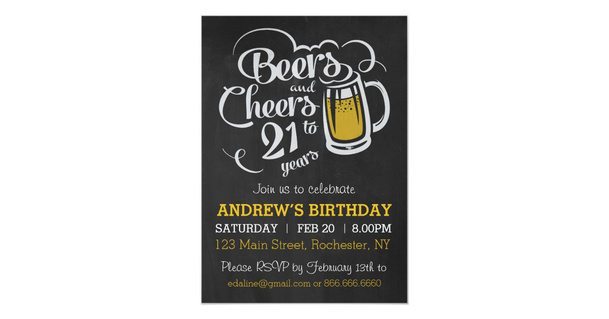 Beers and Cheers to 21 Years Birthday Invitation Zazzle com