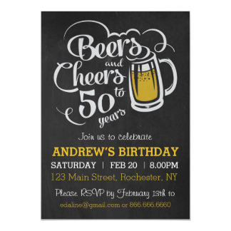 Beers and Cheers to 50 Years Birthday Invitation