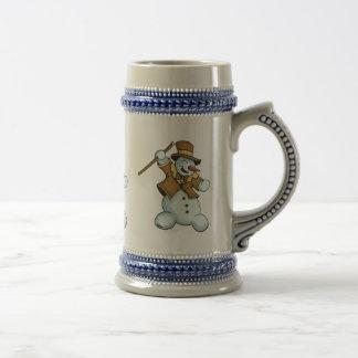 beerstein del muñeco de nieve del baile jarra de cerveza