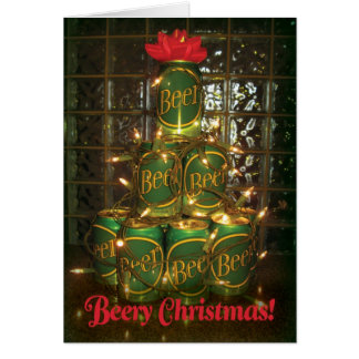 Beery Christmas - Lighted Cans of Beer Tree Card