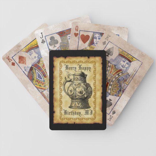 Beery Happy Birthday  Antique Beer Stein Vintage Bicycle Playing Cards