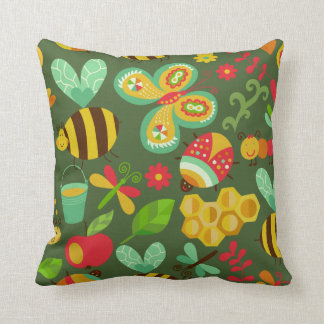 Bees and Beetle Throw Pillow