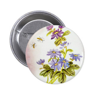 Bees and Flowers Button