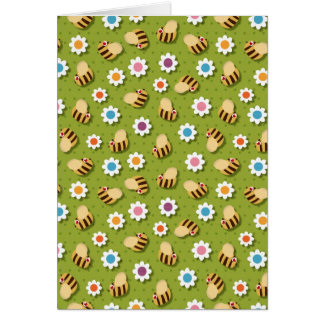 Bees and Flowers Greeting Cards