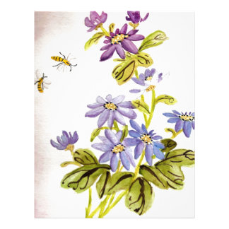Bees and Flowers Customized Letterhead