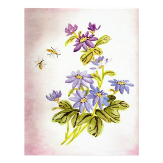 Bees and Flowers Letterhead Template